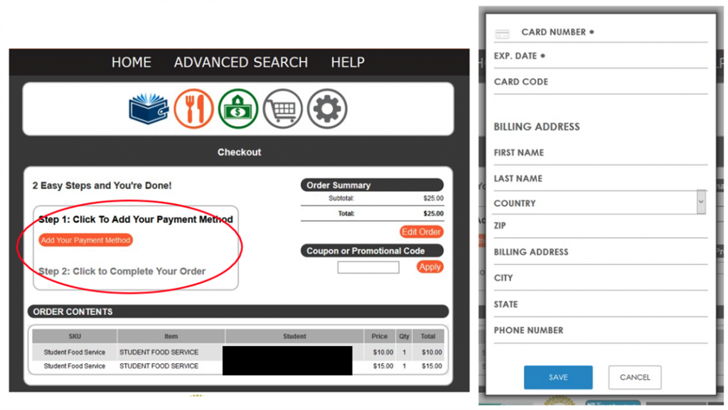 Food Services screen showing a red circle around the Add Your Payment Method button.