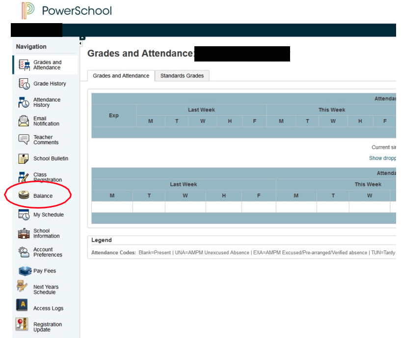 Visual of PowerSchool balance button as described in the text above this image.